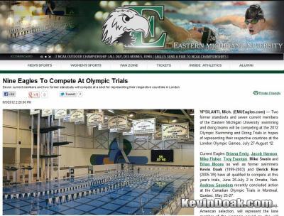 EMUeagles.com U.S. Olympic Trials article